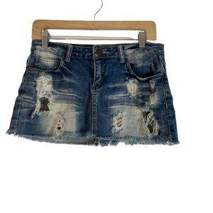 Machile Distressed Ripped Jean Denim Mini Skirt